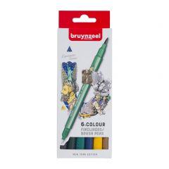 Bruynzeel fineliners/brushpennen 6 stuks - New York