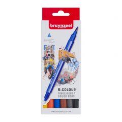 Bruynzeel fineliners/brushpennen 6 stuks - Amsterdam