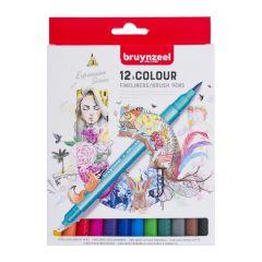 Bruynzeel fineliners/brushpennen 12 stuks