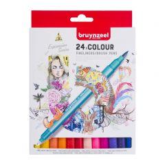 Bruynzeel fineliners/brushpennen 24 stuks