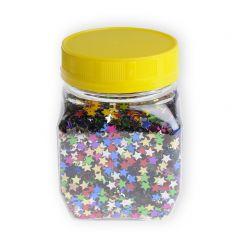 Glittersterren 6 mm 130 g in strooipot assortiment kleuren