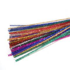 Chenille 6 mm 50 cm assortiment glitter 50 stuks