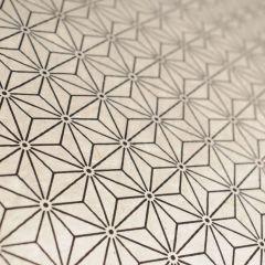 Lokta bedrukt 50 x 75 cm geometrische sterren wit/zwart