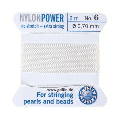 Perlondraad 0,70 mm 2 m wit