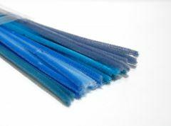 Chenille 6 mm/30 cm ass. blauw 5 x 5 kleuren