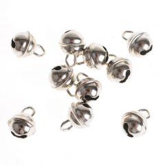 Belletjes 9 mm 10 stuks zilverkleurig