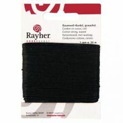 Katoen waxkoord 1 mm 20 m zwart