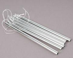 Windgongs hol 14 cm /6 mm 6 stuks zilver