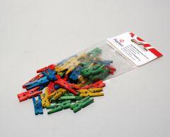 Houten wasknijpers 2,5 cm 48 stuks assortiment kleuren