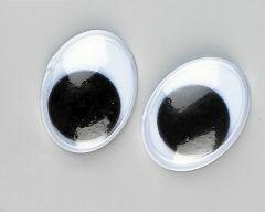 Wiebeloogjes ovaal 15 mm 10 stuks zwart-wit