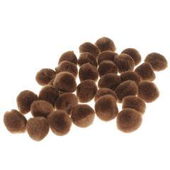 Pompon 15 mm 60 stuks bruin