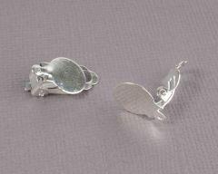 Oorclip met oog 12 mm zilverkleurig 2 stuks