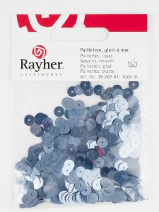 Pailletten 6 mm glad 1000 stuks duifblauw
