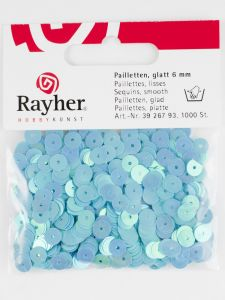 Pailletten 6 mm glad 1000 stuks iris. blauw