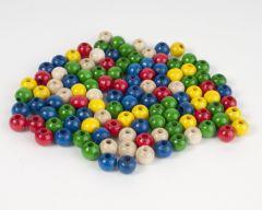 Houten parels 6 mm 115 stuks assortiment