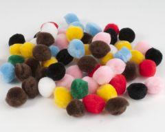 Pompon 15 mm 60 stuks assortiment kleuren