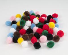 Pompon 10 mm 65 stuks assortiment kleuren
