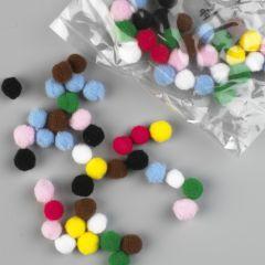 Pompon 7 mm 70 stuks assortiment kleuren