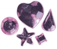 Strass acryl klevend 58 stuks roze