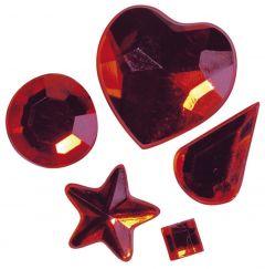 Strass acryl klevend 58 stuks rood