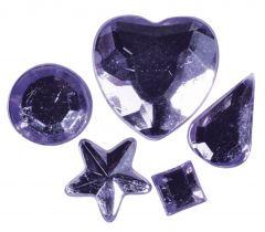 Strass acryl klevend 58 stuks lila