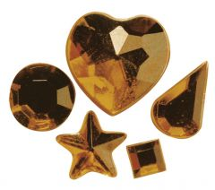 Strass acryl klevend 58 stuks goud
