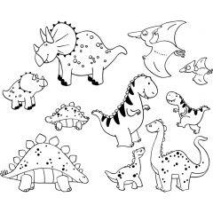 Stampominos stempels 10 stuks + inkt dinosaurussen