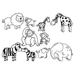 Stampominos stempels 10 stuks + inkt wilde dieren