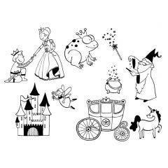 Stampominos stempels 10 stuks + inkt prinsessen