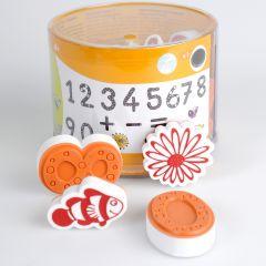 Stampominos stempels 18 stuks + inkt cijfers