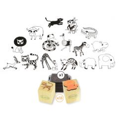 Stampo Kids stempels 15 stuks + inkt muis op safari