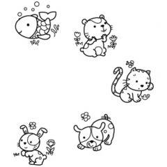 Stampo Baby stempels 4 stuks + inkt huisdieren