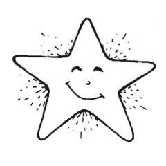 Stempel 3 x 3 cm kleine lachende ster