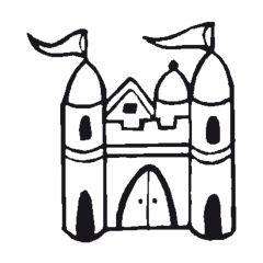 Stempel 4 x 4 cm kasteel