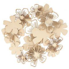 Houten bloemen  18 stuks good vibes