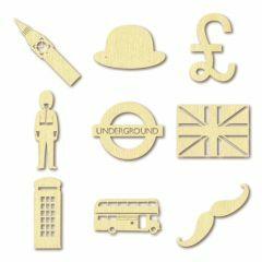 Houten figuurtjes mini 3 x 9 stuks 2,5 cm Londen