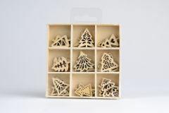 Houten figuurtjes mini 3 x 9 st. 2,5 cm kerstbomen