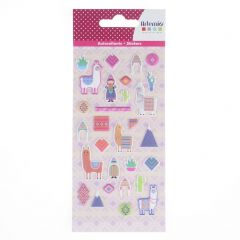 Stickers puffy 30 stuks alpaca