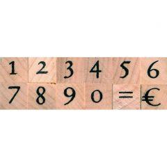 Stempelset cijfers antiek + euro 0,5 cm