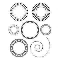 Stempelset transparant mini cirkels (o.a. spiraal)