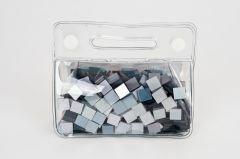 Mozaïek glans 10 x 10 mm 150 g assortiment zilver