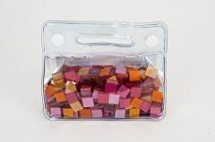 Mozaïek glitter 10 x 10 mm 150 g ass. rood/roze/goud