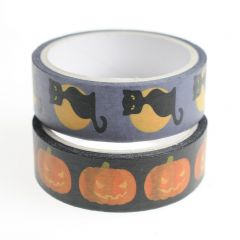 Washi tape 15 mm x 5 m 2 stuks Halloween kat