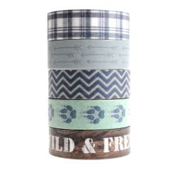 Washi tape 15 mm x 5 m 5 stuks Woodland