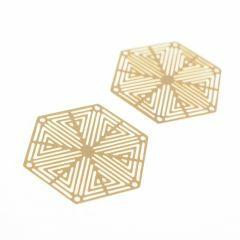 Tussenstuk filigraan zeshoek 27 mm 2 st. mat goud