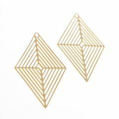 Hanger filigraan ruit 36 mm 2 stuks mat goud