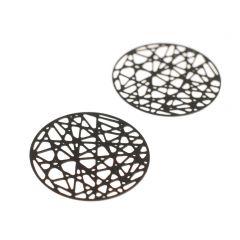 Hanger filigraan rond 24 mm 2 stuks mat zwart