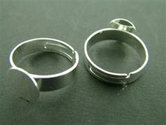 Ring met lijmplaatje 10 mm verstelbaar 1 stuk rhodium