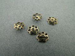 Kralenkapje bloem 6 mm 10 stuks antiek goud