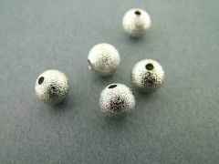 Metalen kraal sandy ball 8 mm 10 stuks rhodium